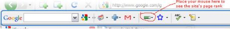 Google Toolbar with Page Rank icon highlighted
