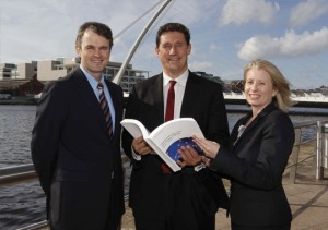 Bartley O'Connor (PwC), Minister Eamon Ryan, Susan Kilty (PwC) launching the Entertainment & Media report.