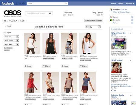 ASOS's Facebook Store