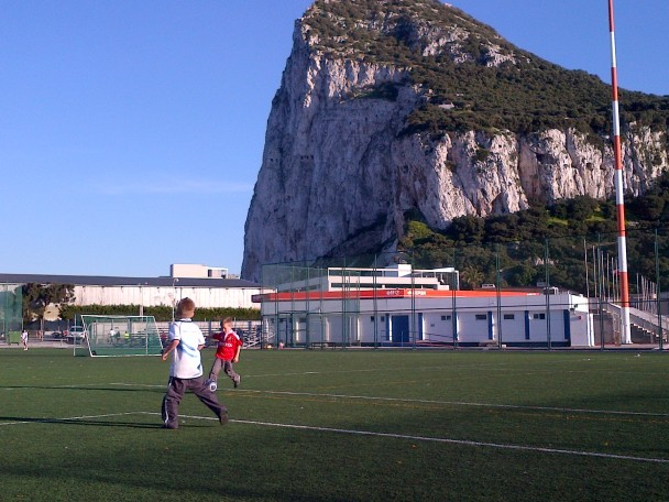 Winter football under the shadow of The Rock